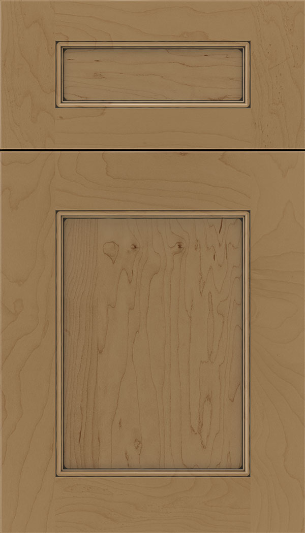 Lexington 5pc Maple recessed panel cabinet door in Tuscan with Black glaze