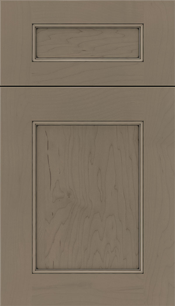Lexington 5pc Maple recessed panel cabinet door in Winter with Black glaze