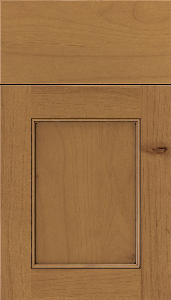 Lexington Alder recessed panel cabinet door in Ginger with Black glaze