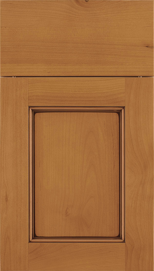 Lexington Alder recessed panel cabinet door in Ginger with Mocha glaze