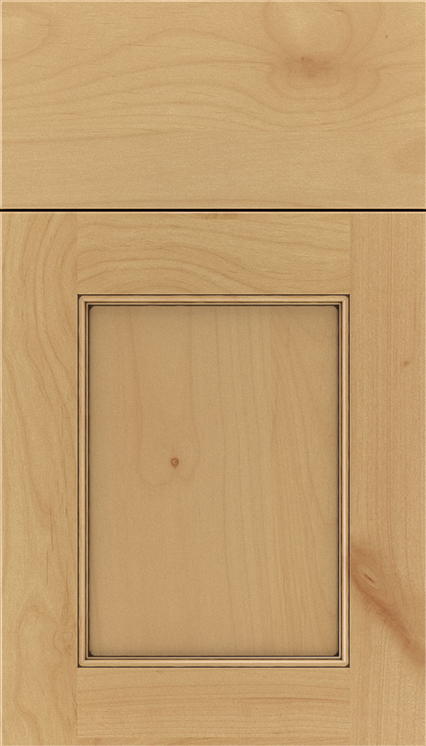 Lexington Alder recessed panel cabinet door in Natural with Mocha glaze