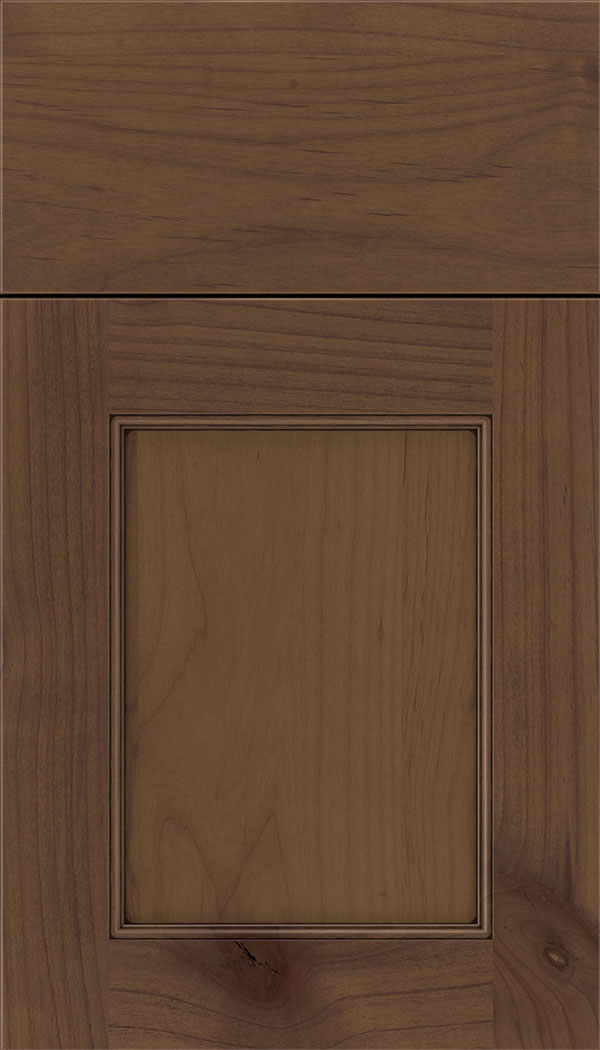 Lexington Alder recessed panel cabinet door in Sienna with Black glaze