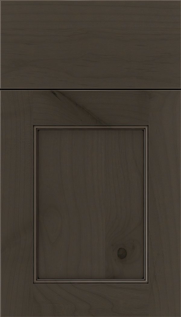 Lexington Alder recessed panel cabinet door in Thunder with Black glaze