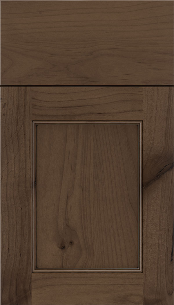 Lexington Alder recessed panel cabinet door in Toffee with Black glaze