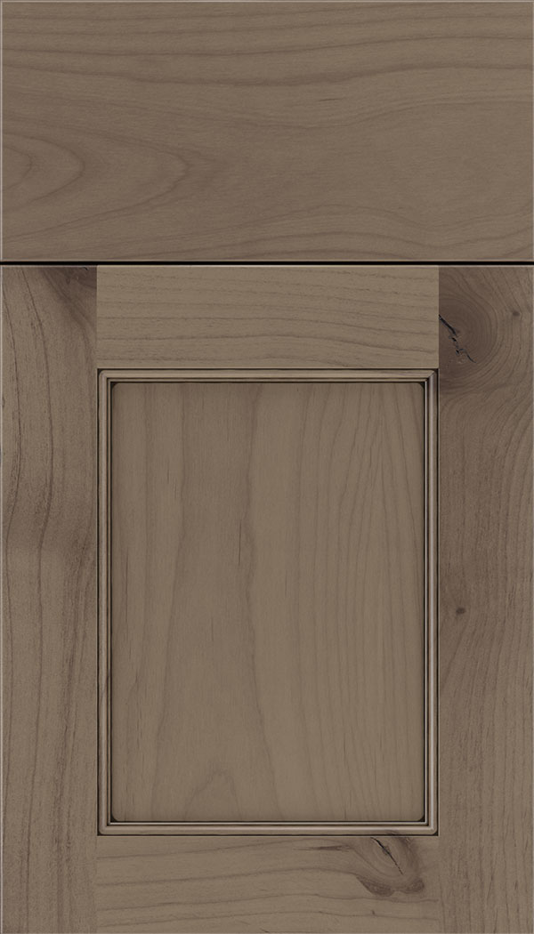 Lexington Alder recessed panel cabinet door in Winter with Black glaze