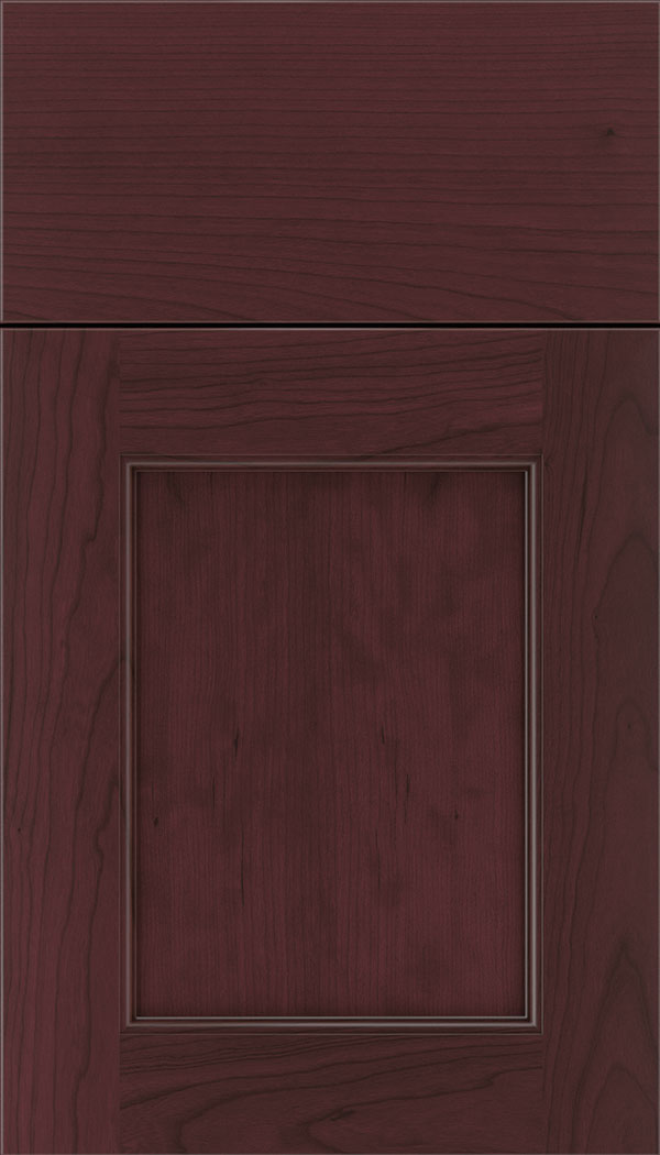 Lexington Cherry recessed panel cabinet door in Bordeaux