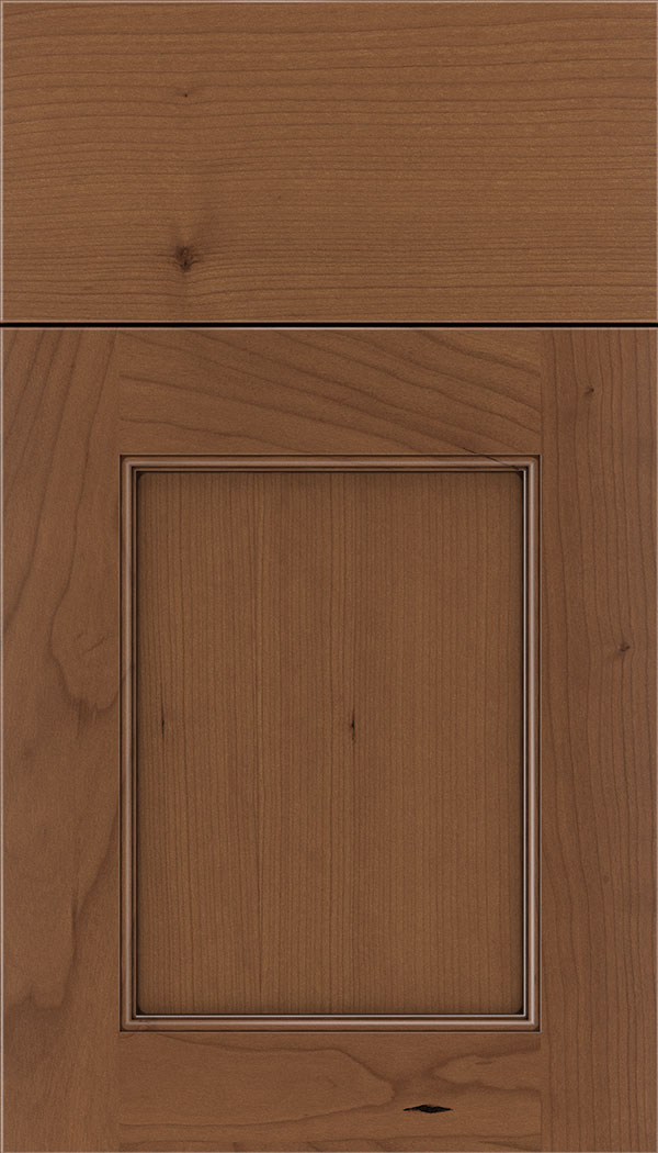 Lexington Cherry recessed panel cabinet door in Nutmeg with Mocha glaze