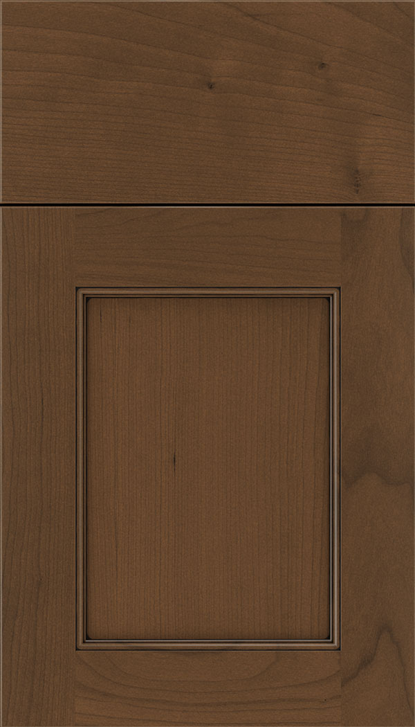Lexington Cherry recessed panel cabinet door in Sienna with Black glaze