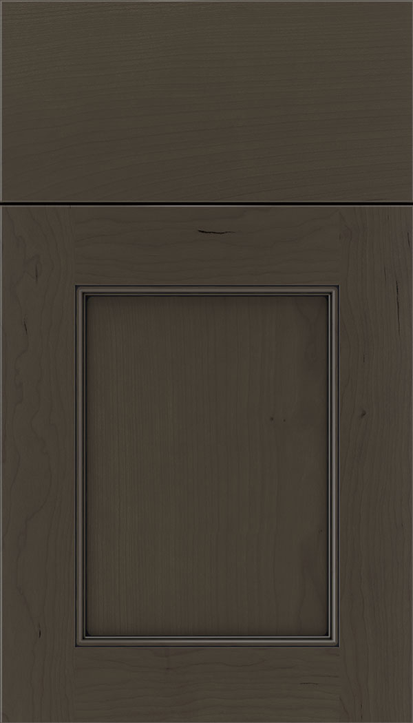 Lexington Cherry recessed panel cabinet door in Thunder with Black glaze