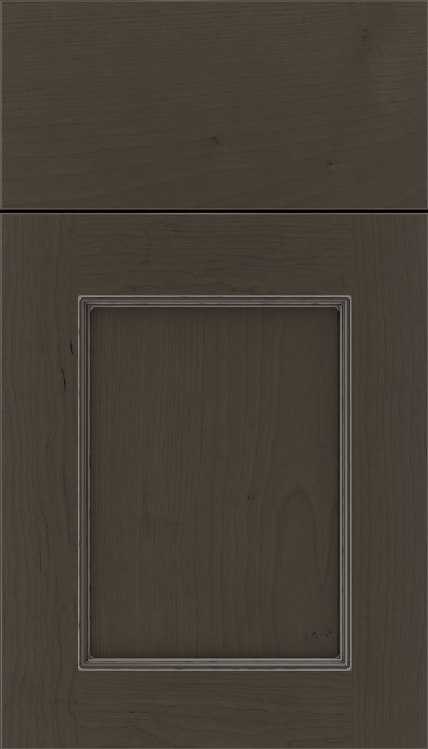 Lexington Cherry recessed panel cabinet door in Thunder with Pewter glaze