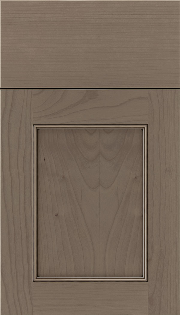 Lexington Cherry recessed panel cabinet door in Winter with Black glaze