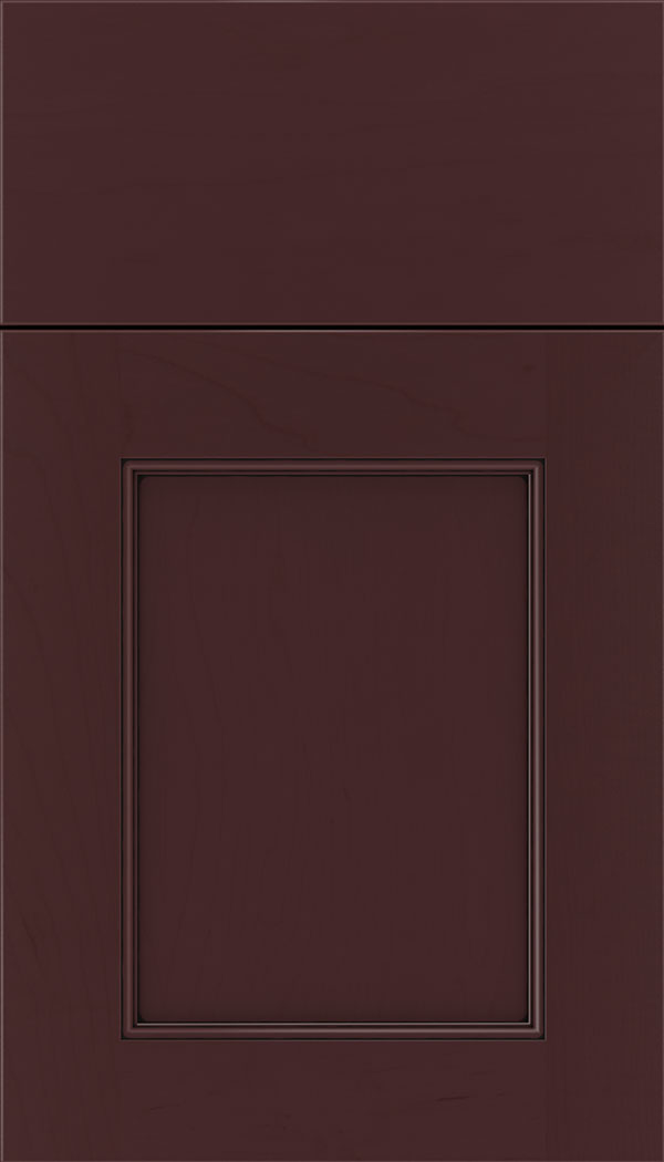 Lexington Maple recessed panel cabinet door in Bordeaux with Black glaze