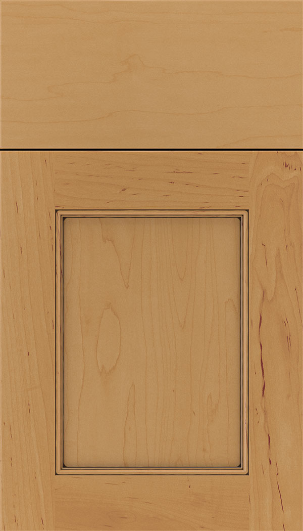 Lexington Maple recessed panel cabinet door in Ginger with Black glaze
