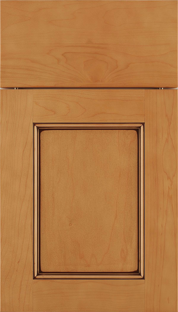 Lexington Maple recessed panel cabinet door in Ginger with Mocha glaze