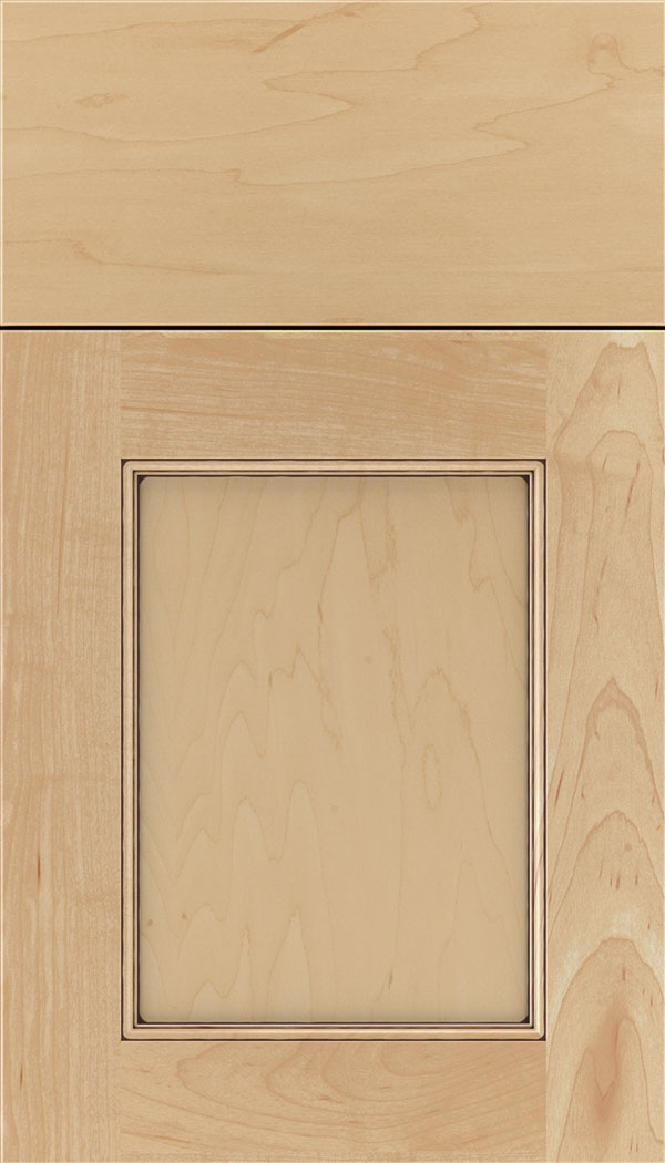 Lexington Maple recessed panel cabinet door in Natural with Mocha glaze