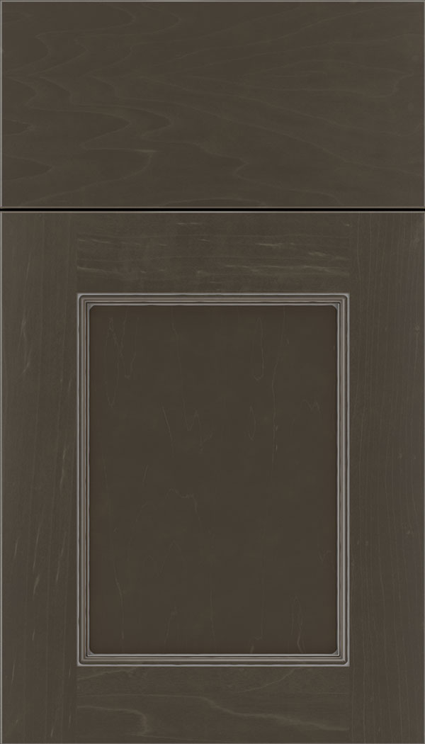 Lexington Maple recessed panel cabinet door in Thunder with Pewter glaze