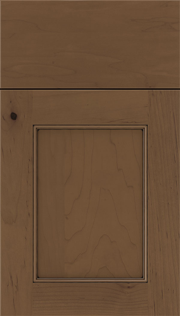 Lexington Maple recessed panel cabinet door in Toffee with Black glaze
