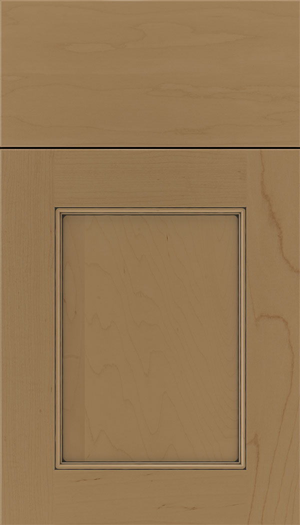 Lexington Maple recessed panel cabinet door in Tuscan with Black glaze