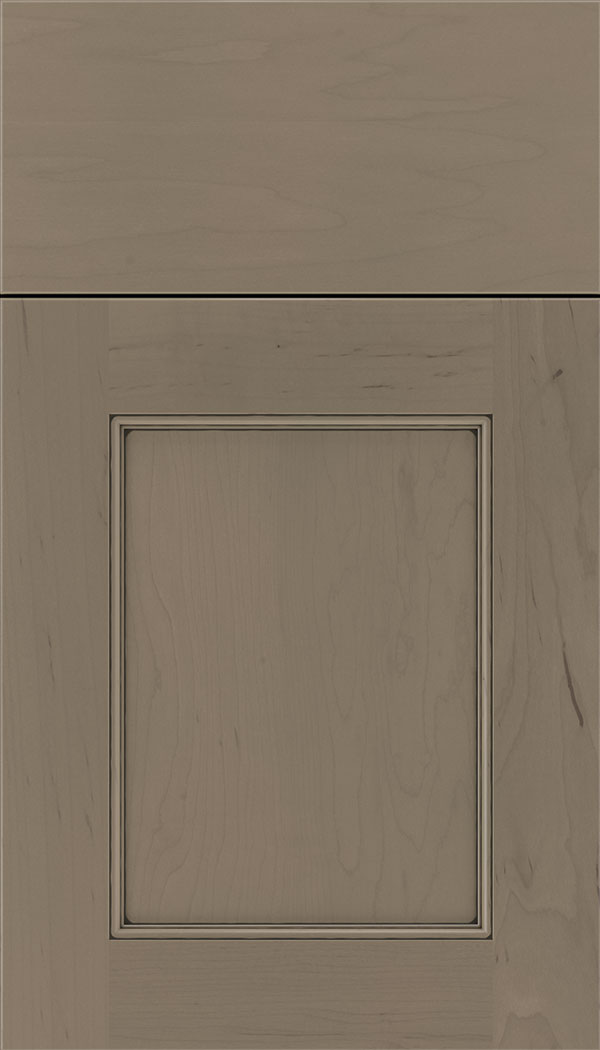 Lexington Maple recessed panel cabinet door in Winter with Black glaze