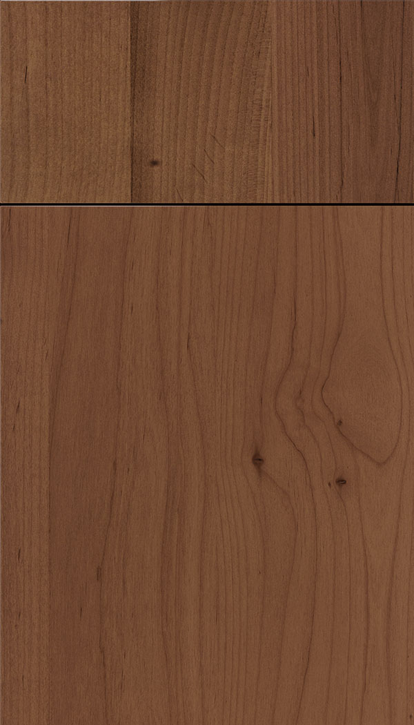 Lockhart Alder slab cabinet door in Nutmeg