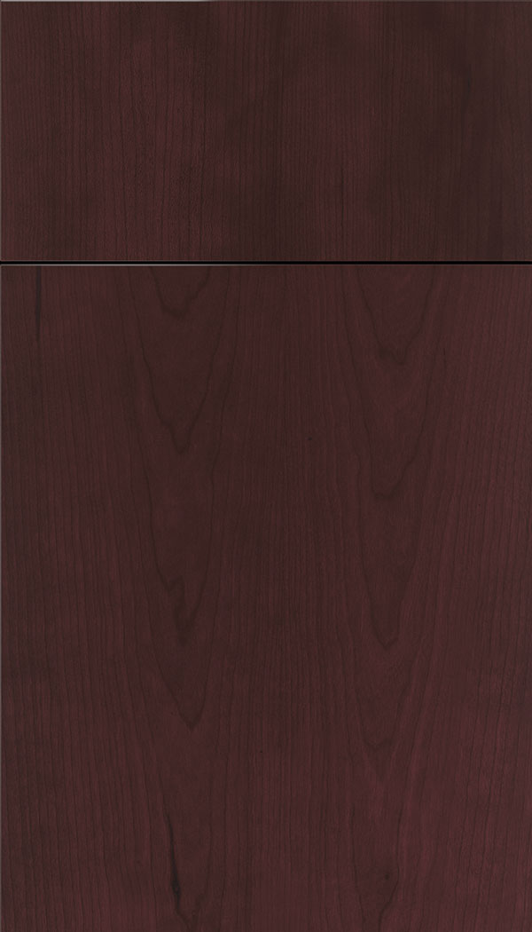 Lockhart Cherry slab cabinet door in Bordeaux