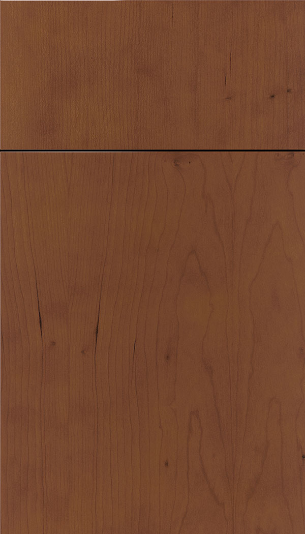 Lockhart Cherry slab cabinet door in Russet