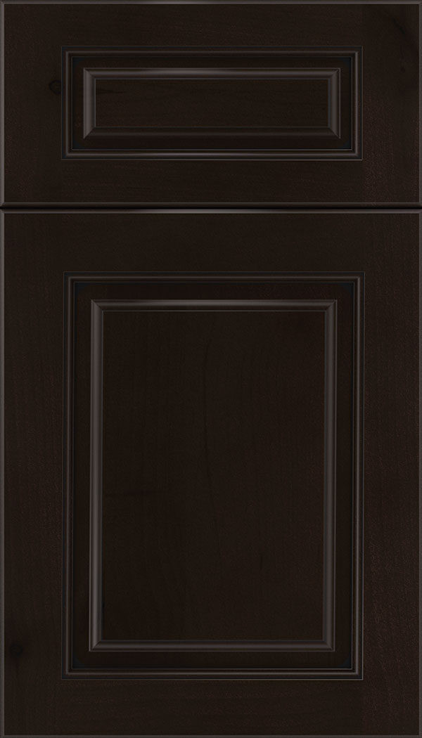 Marquis 5pc Alder raised panel cabinet door in Espresso with Black glaze