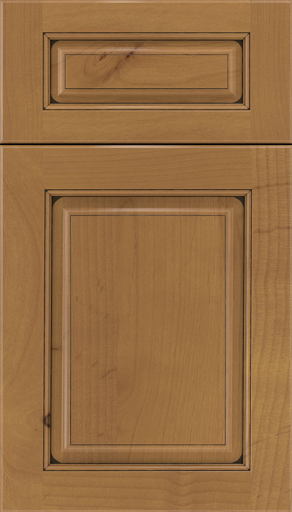 Marquis 5pc Alder raised panel cabinet door in Ginger with Black glaze