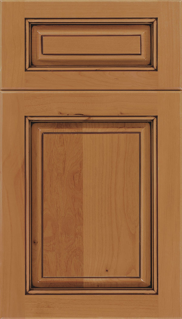 Marquis 5-Piece Alder raised panel cabinet door in Ginger with Mocha glaze