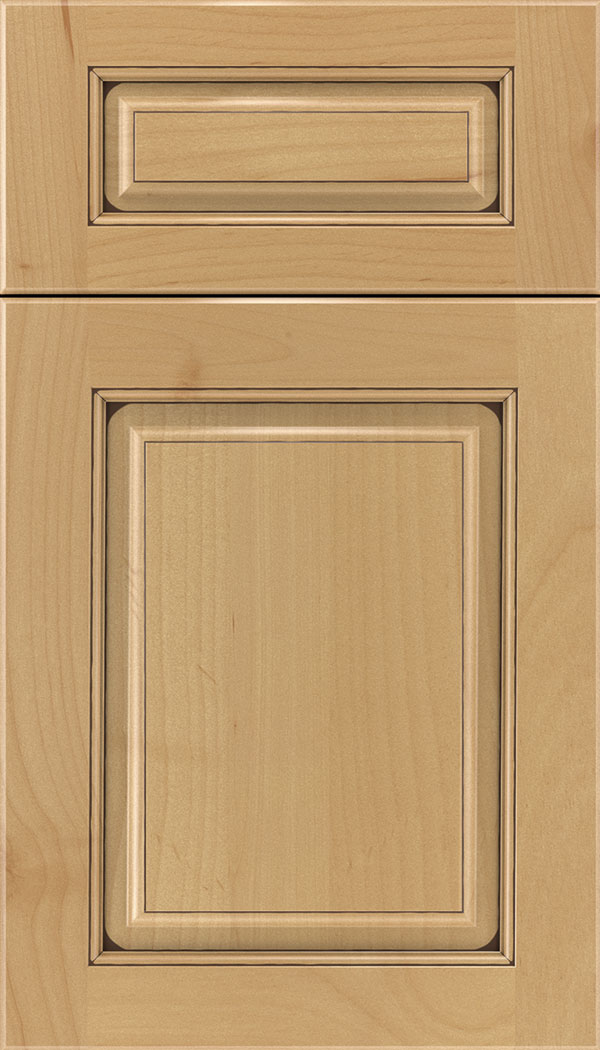 Marquis 5pc Alder raised panel cabinet door in Natural with Mocha glaze
