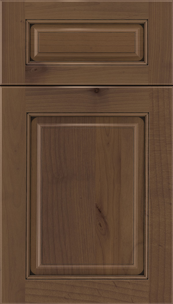Marquis 5pc Alder raised panel cabinet door in Sienna with Black glaze