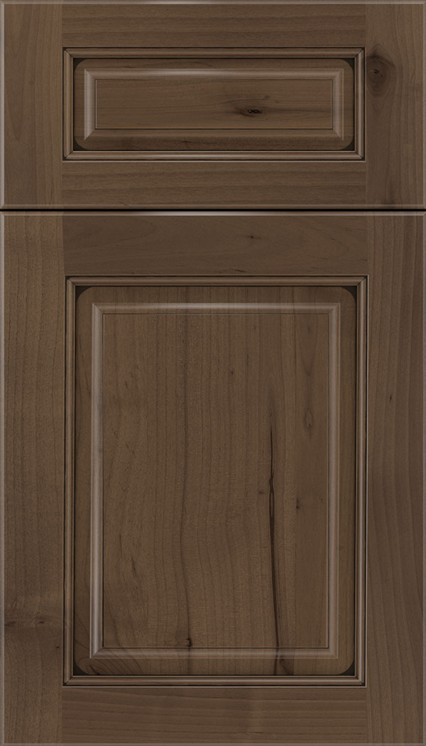Marquis 5pc Alder raised panel cabinet door in Toffee with Black glaze