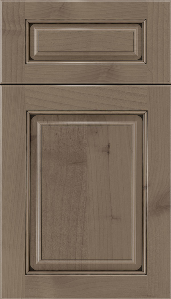 Marquis 5pc Alder raised panel cabinet door in Winter with Black glaze