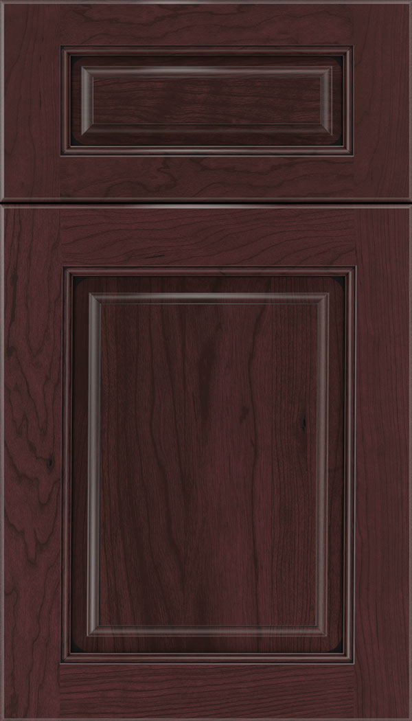 Marquis 5pc Cherry raised panel cabinet door in Bordeaux with Black glaze