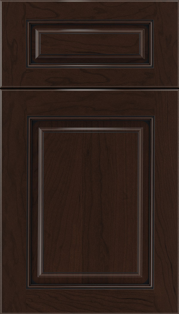 Marquis 5pc Cherry raised panel cabinet door in Cappuccino with Black glaze