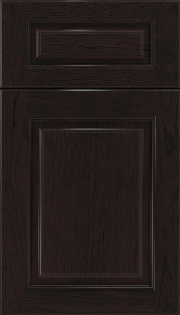 Marquis 5pc Cherry raised panel cabinet door in Espresso with Black glaze