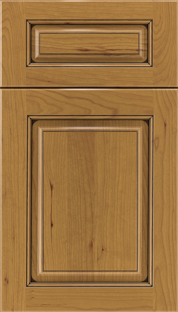 Marquis 5pc Cherry raised panel cabinet door in Ginger with Black glaze