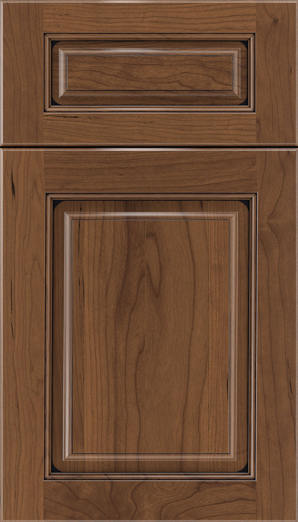 Marquis 5pc Cherry raised panel cabinet door in Nutmeg with Black glaze