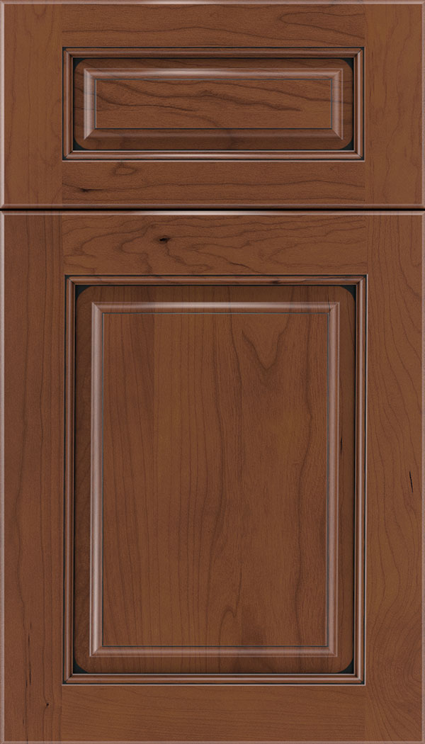 Marquis 5pc Cherry raised panel cabinet door in Russet with Black glaze