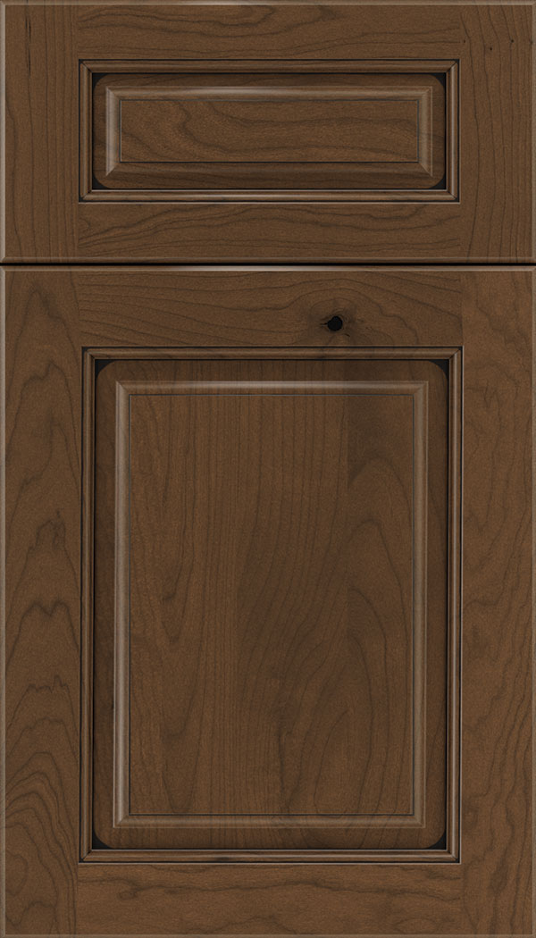 Marquis 5pc Cherry raised panel cabinet door in Sienna with Black glaze