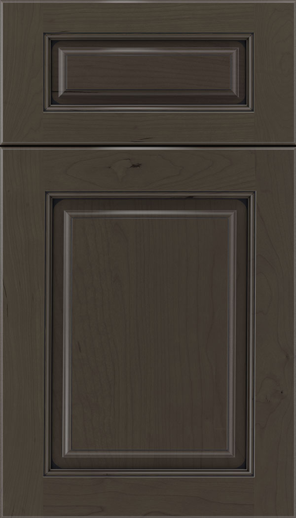 Marquis 5pc Cherry raised panel cabinet door in Thunder with Black glaze
