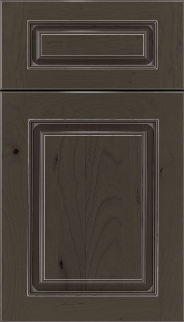 Marquis 5pc Cherry raised panel cabinet door in Thunder with Pewter glaze