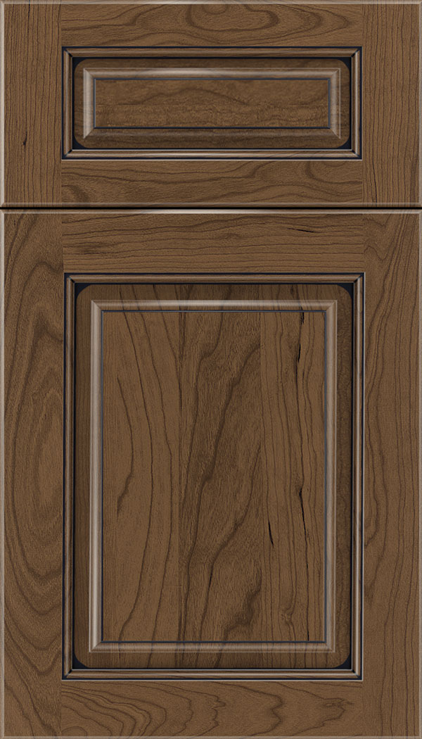 Marquis 5pc Cherry raised panel cabinet door in Toffee with Black glaze