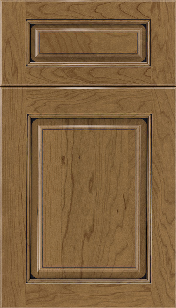 Marquis 5pc Cherry raised panel cabinet door in Tuscan with Black glaze