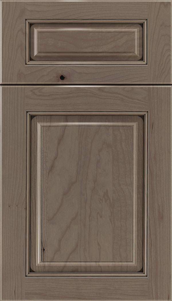 Marquis 5pc Cherry raised panel cabinet door in Winter with Black glaze