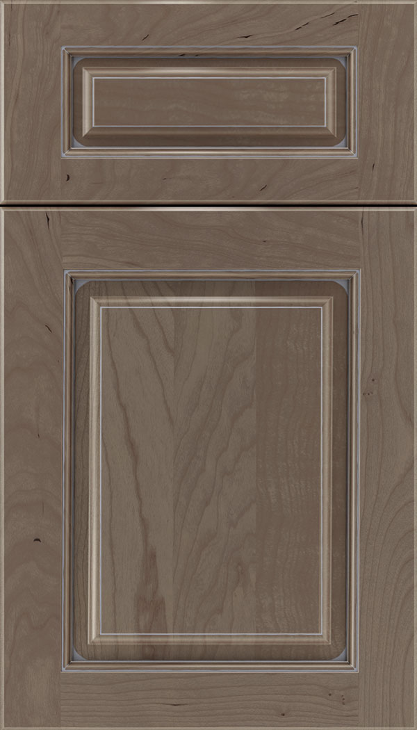 Marquis 5pc Cherry raised panel cabinet door in Winter with Pewter glaze
