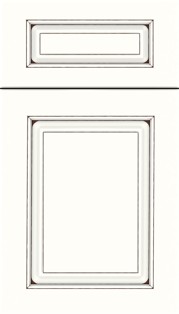 Marquis 5pc Maple raised panel cabinet door in Alabaster with Mocha glaze