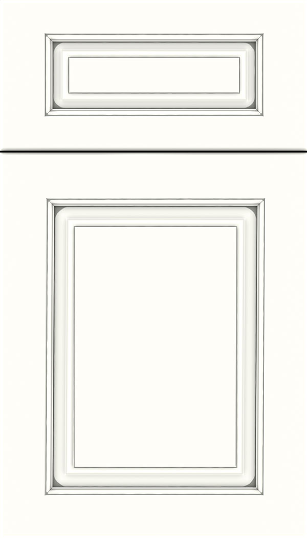 Marquis 5pc Maple raised panel cabinet door in Alabaster with Pewter glaze