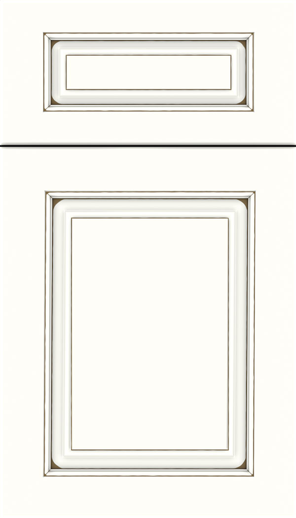 Marquis 5pc Maple raised panel cabinet door in Alabaster with Smoke glaze