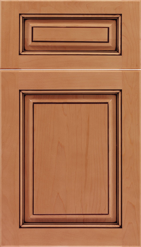 Marquis 5pc Maple raised panel cabinet door in Ginger with Mocha glaze